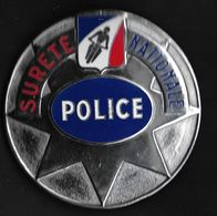 POLICE - SURETE NATIONALE - Plaque émaillée Matriculée Diamètre 85 Mm - Police & Gendarmerie