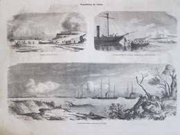 7 Gravure  1858 Expédition  CHINE. China   Fort Du Nord . Ataque Des Forts . Cannonières  Sur Le PEI-HO - China