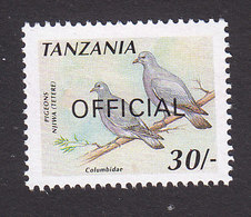 Tanzania, Scott #O42A, Mint Hinged, Birds Overprint, Issued 1990 - Tanzanie (1964-...)