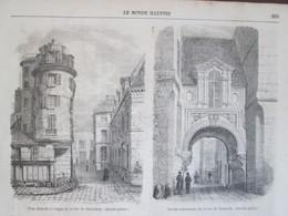 Gravure  1858 Paris     Tour Démolie RUE DE JERUSALEM  Rue De NAZARETH  Ile De La Cité - Vieux Papiers