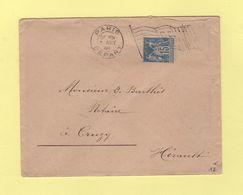 Flamme Drapeau RF - Paris Depart - 1900 - Type Sage - Postmark Collection (Covers)