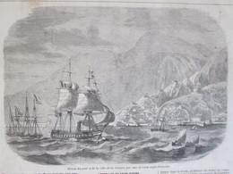Gravure  1858 Blocus  Du Port   De La Ville   De GUAYRA    PORTO CABELLO  VENEZUELA Caracas - Old Paper