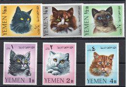 YEMEN 1965 - TEMATICA ANIMALI - GATTI DIVERSI - 6 VALORI - ** - Yemen