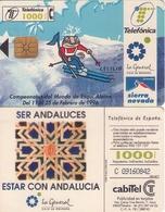TARJETA TELEFONICA DE ESPAÑA USADA. 01.96 (486). CAMPEONATO DEL MUNDO DE ESQUÍ ALPINO, SIERRA NEVADA. CÓD. NUM. GRANDE. - España