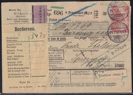 DR NN-Paketkarte Mif Minr.85I,91I,2x 94I Frankfurt (Main) 24.7.07 Gel. In Schweiz Perfins Paul Knaur - Deutschland