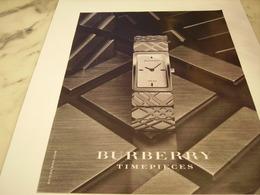 PUBLICITE AFFICHE MONTRE BURBERRY - Bijoux & Horlogerie