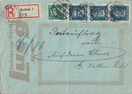 DR R-Postauftrag Mif Minr.387,3x 392 Bochum 5.10.27 Gel. Nach Auf Dem Schnee Bei Witten-Ruhr Seltener Stempel - Deutschland