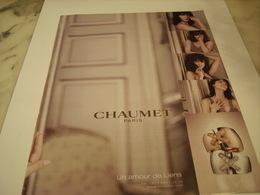 PUBLICITE AFFICHE JOAILLIER CHAUMET - Jewels & Clocks