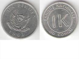 Congo Dem. Rep. 1 Likuta 1967 Km 8  Unc !!!! - Congo (Rép. Démocratique, 1964-70)