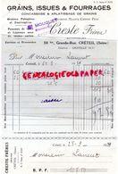 94- CRETEIL- FACTURE CRESTE FRERES- MOUQUET- GRAINS ISSUES FOURRAGES-AGRICULTURE -GRAINES POTAGERES -59 GRANDE RUE-1929 - Agriculture