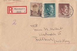 GG R-Brief Mif Minr.40,80,82 Warschau 24.8.43 Gel. Nach Fellbach - Besetzungen 1938-45