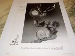 ANCIENNE PUBLICITE REVEIL JAZ  1952 - Bijoux & Horlogerie