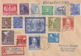 Gemeina. R-Brief Zehnfachfrankatur Schafflund über Flensburg 22.6.48 Ansehen !!!!!!!!!!! - Gemeinschaftsausgaben