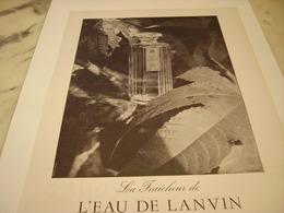 ANCIENNE PUBLICITE EAU DE LANVIN  1952 - Perfume & Beauty