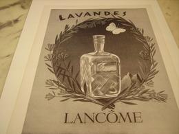 ANCIENNE PUBLICITE PARFUM LAVANDES DE LANCOME  1952 - Perfume & Beauty