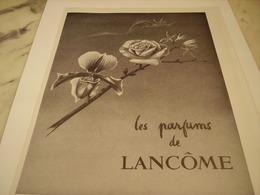 ANCIENNE PUBLICITE PARFUM  DE LANCOME  1952 - Perfume & Beauty