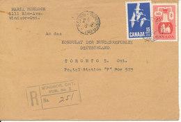 Canada Registered Cover Windsor Ont. 30-7-1964 - 1952-.... Elizabeth II