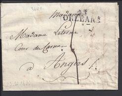 """FR - Marque Linéaire """"15 Orléans"""" Lettre Du 25 Octobre 1820 En Port Dû, Taxe Manuscrite 4 Décimes, Pour Angers - - 1801-1848: Precursors XIX"""