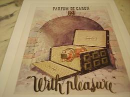 ANCIENNE PUBLICITE PARFUM  WITH PLEASURE DE CARON 1952 - Perfume & Beauty