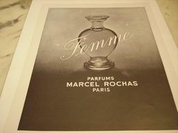 ANCIENNE PUBLICITE PARFUM  FEMME DE MARCEL ROCHAS  1952 - Perfume & Beauty