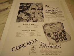 ANCIENNE PUBLICITE PARFUM CONCRETA DE MOLINARD 1952 - Perfume & Beauty