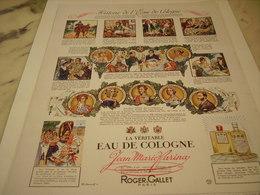 ANCIENNE PUBLICITE EAU DE COLOGNE ROGER GALLET 1952 - Perfume & Beauty