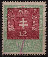 1913 - 1923 Hungary Croatia Slovakia Vojvodina Serbia Romania Transylvania K.u.k Kuk - Revenue Tax Stamp - USED - 12 K - Steuermarken