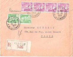 4413 PARIS 60 R De La Convention Lettre Recommandée Marianne Gandon 10F Violet  5F Vert Yv 811 809 Ob 1951 Avec Courrier - France