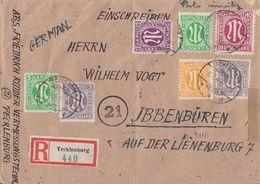 AM-Post R-Brief Mif Minr.3x 3,7,2x 17,20,29,30 Tecklenburg 6.4.46 Gel. Nach Ibbebbüren - Bizone