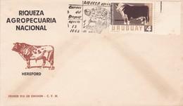 RIQUEZA AGROPECUARIA NACIONAL, HEREFORD. AVEC BORD DU PLAQUE. URUGUAY.-FDC-TBE-BLEUP - Landbouw