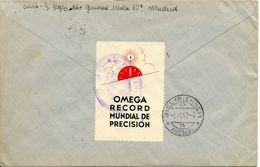Montre Omega Publicite Sur Vignette, 1940 Lettre Espagne Recommande Vers Suisse, Censure, Voir 2 Scan - Horlogerie