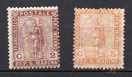 1899 S. Marino Statua Della Libertà N. 32-33 Nuovo MLH* Sassone 7,5 - Ongebruikt