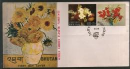 Bhutan 1970 World Famous Paintings Of Flowers Vase Art Sc 114j,h FDC # 149 - Bhutan