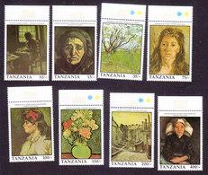 Tanzania, Scott #772-779, Mint Never Hinged, Vincent Van Gogh, Issued 1991 - Tanzania (1964-...)