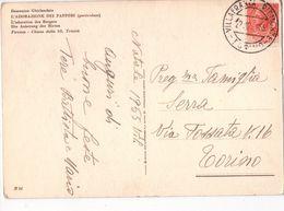 U2366 Annullo Storia Postale VILLAFRANCA PIEMONTE 1955 Su Cartolina Con Adorazione Dei Pastori Del Ghirlandaio - 6. 1946-.. Repubblica