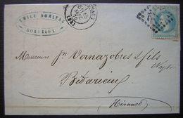 1870 Bordeaux Emile Bonifas Draperies & Lainages Lettre Pour Bédarieux - Postmark Collection (Covers)