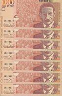 C) COLOMBIAN BANK NOTE 1000 PESOS UNC 2014 P/456 7PCS - Colombia