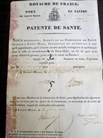 Royaume De FRANCE - 1838 PATENTE DE SANTE - Port De SAINT-MALO - Bateau Pour Aller à Montevideo -ville N'existe épidémie - Historical Documents