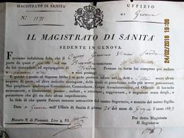 ITALIA - 1833  PORTO DI GENOVA - MAGISTRATO DI SANITA  - BILL OF HEALTH FOR A BOAT TO TRAVEL TO BUENOS AIRES -No Peste - Documentos Históricos