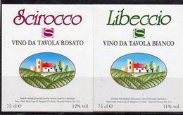 """Domenico Spadafora (CS) - Vino Da Tavola Rosato """"Scirocco"""" E Bianco """"Libeccio"""" - - Etichette"""