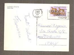 NIGERIA STORIA POSTALE ANNULLO LAGOS 1977 TARGHETTA LICENCE YOUR RADIO SU CARTOLINA PER ITALIA - Nigeria (1961-...)