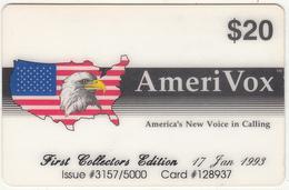 USA - First Collectors Edition, Amerivox Prepaid Card $20, Tirage 5000, 01/93, Used - Stati Uniti