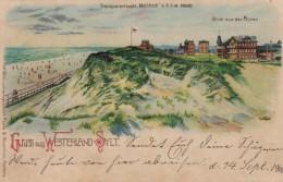 Gruss Aus Westerland-Sylt Hold-to-Light, Window Light Up, Sunset On Sand Highlights, C1890s/1900s Vintage Postcard - Hold To Light