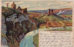 Rudelsburg Saaleck Germany Hold-to-Light, Sunshine Highlights On Horizon & River, C1890s/1900s Vintage Postcard - Hold To Light