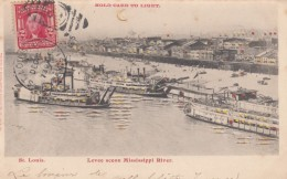 St. Louis Missouri Mississippi River Scene, Steamboats, Windows And Water Highlights Light Up, C1900s Vintage Postcard - Hold To Light