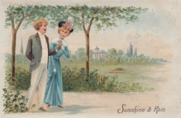 Sunshine & Rain, Romance Couple Theme, Rain Couple Huddled Under Umbrella Appear In Light, C1900s Vintage Postcard - Hold To Light