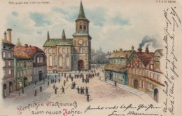 Prosit Neujahr In Sky, Good Luck In New Year Town Square Scene, Windows Light Up, C1900s Vintage Postcard - Hold To Light