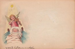 Angel Plays Violin Baby In Cradle, Hold To Light Couple Kisses On Couch Sofa, C1890s/1900s Vintage Postcard - Hold To Light