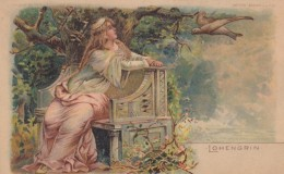 Lohengrin, Hold To Light Knight Appears On Right, Romance, C1890s/1900s Vintage Postcard - Hold To Light