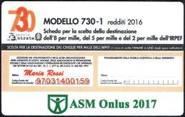 ITALIA 2017 - CALENDARIO TASCABILE - ASM ONLUS - MODELLO 730-1 REDDITI 2016 - SCHEDA DESTINAZIONE 5x1000 - Calendari